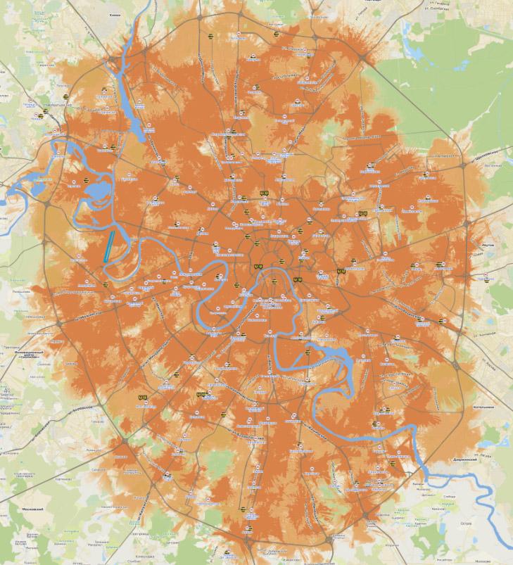 Карта покрытия LTE Билайн в Москве на декабрь 2013