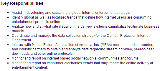 MPAA нанимает «интернет аналитика» для мониторинга социальных сетей и форумов