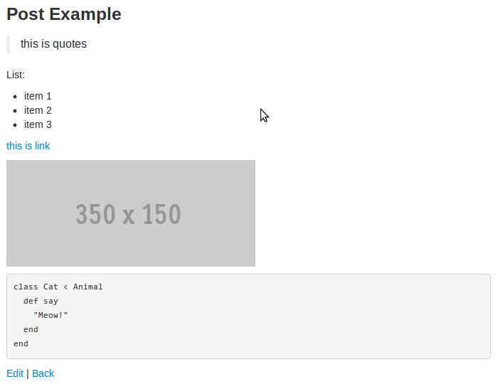 Markdown разметка в RubyOnRails приложении