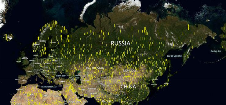 Microsoft добавил 121 терабайт спутниковых и аэро снимков в Bing Maps