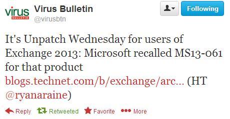 Microsoft отзывает MS13 061