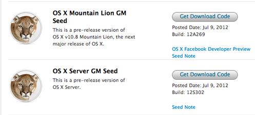 OS X Mountain Lion GM и Xcode 4.4 GM доступны для разработчиков