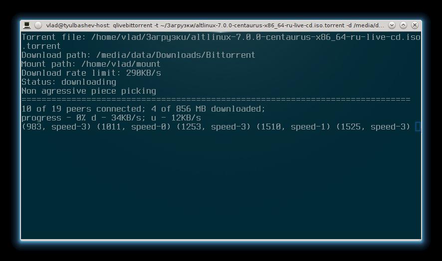 QLiveBittorrent — консольный bittorrent клиент для просмотра файлов до скачивания