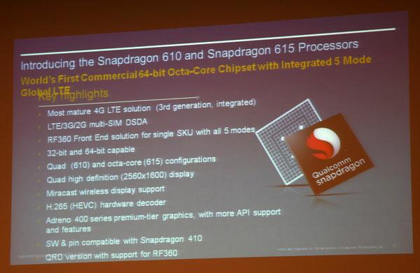 Чипсеты Qualcomm Snapdragon 610 и 615 пополнили семейство Snapdragon 600