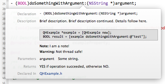 Quick Help для своего кода в XCode 5