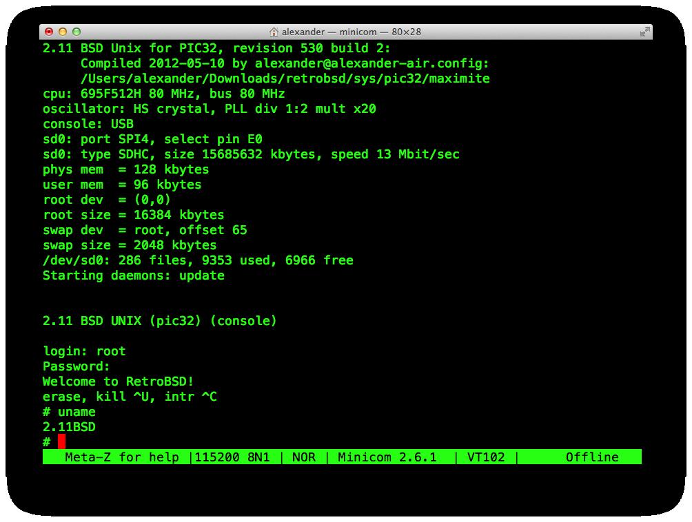 RetroBSD on Maximite