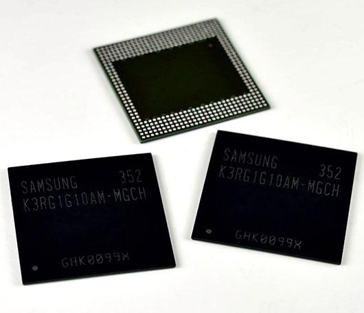 Память Samsung LPDDR4 DRAM плотностью 8 Гбит предназначена для мобильных устройств
