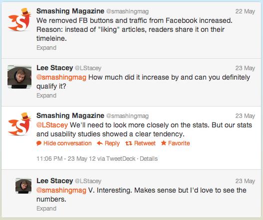 Smashing Magazine отказался от кнопки Like