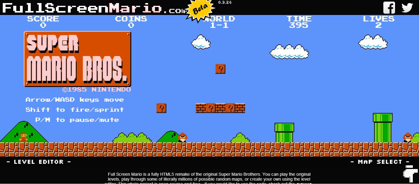 Super Mario Bros. можно поиграть в браузере