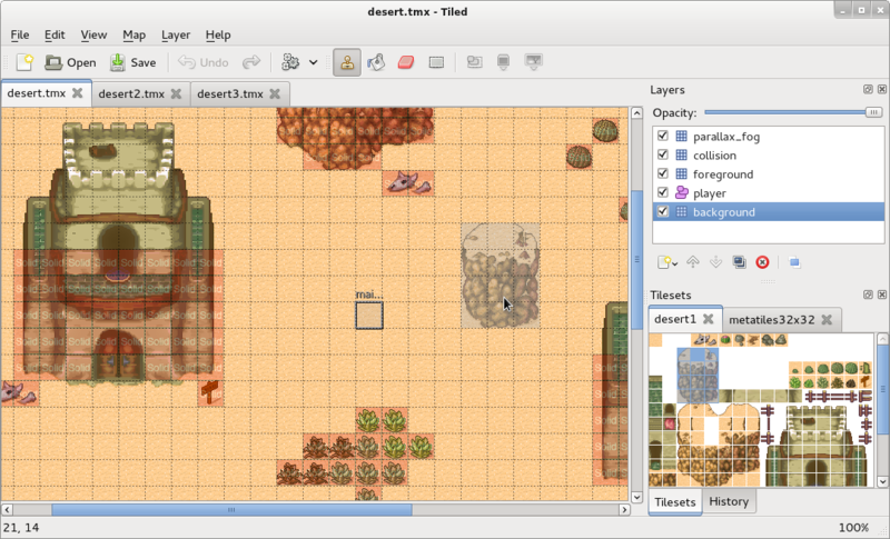 Tiled Map Editor: пиксельарт тайлсет редактор