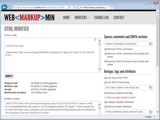 Онлайн-версия HTML-минимизатора на сайте WebMarkupMin Online