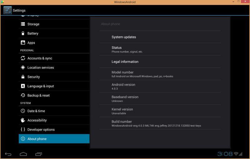 WindowsAndroid позволяет запускать Android 4.0 ICS как Windows приложение