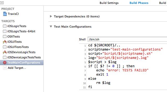 Xcode и Travis: запуск тестов на множестве конфигураций