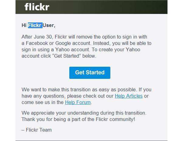 Yahoo наносит ответный удар — и отключает вход на Flickr через Google и Facebook