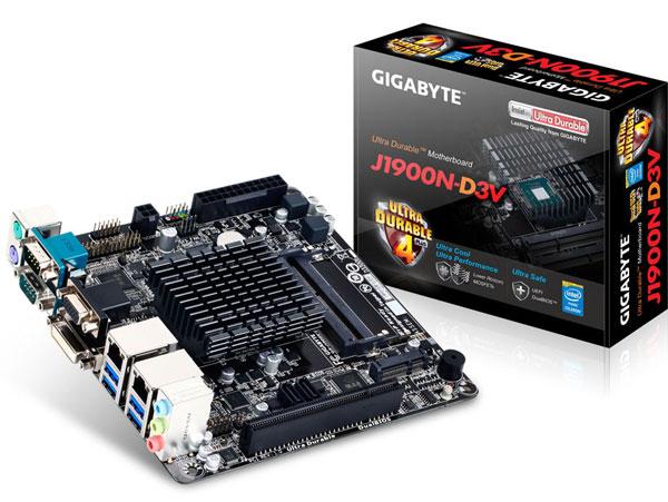 На плате Gigabyte J1900N-D3V установлен пассивно охлаждаемый процессор Intel Celeron J1900