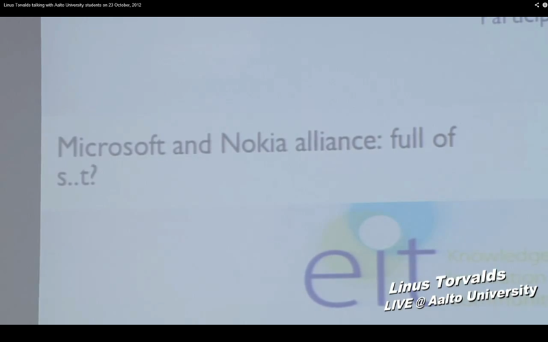 Беседа Линуса Торвальдса со студентами университета Аалто (23.10.2012)
