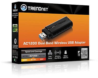 Беспроводной адаптер Trendnet AC1200 поддерживает 5G Wi-Fi (IEEE 802.11ac) и оснащен интерфейсом USB 3.0