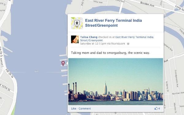Чекины Foursquare теперь отображаются на картах Facebook Timeline