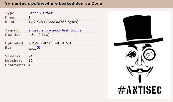 Информационная безопасность / Исходники Symantec pcAnywhere в открытом доступе