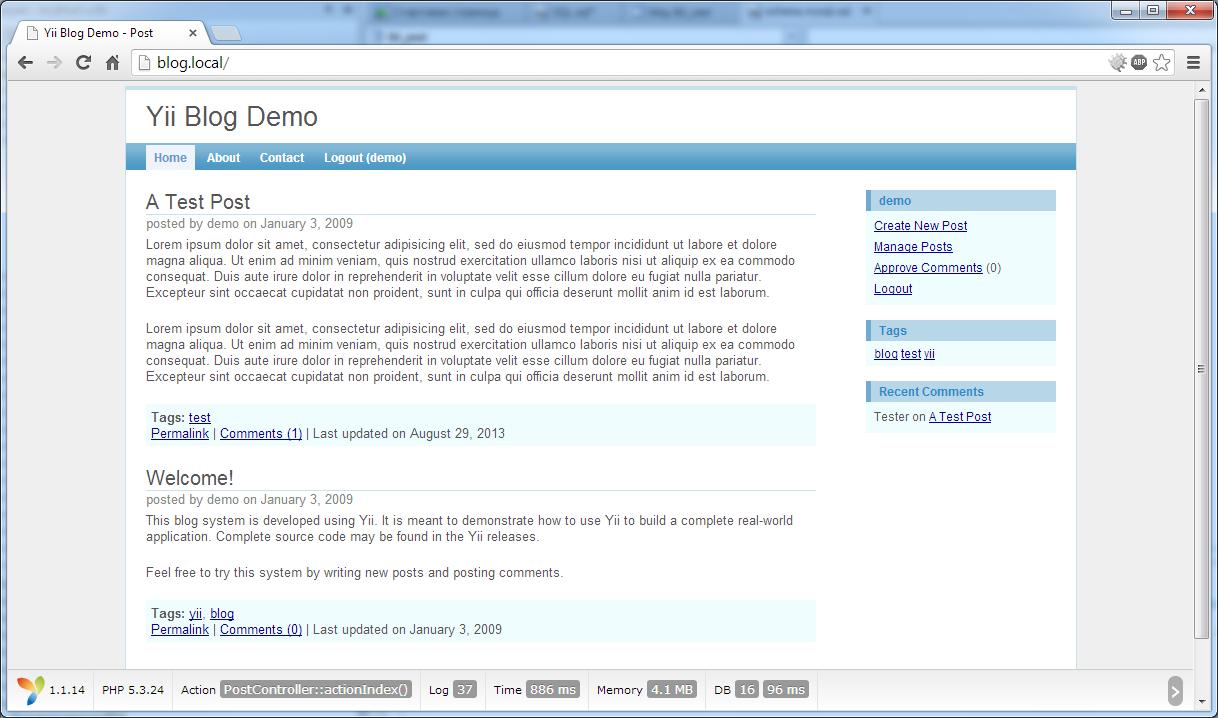 Дебаггер для Yii 1.1 портированный из Yii 2