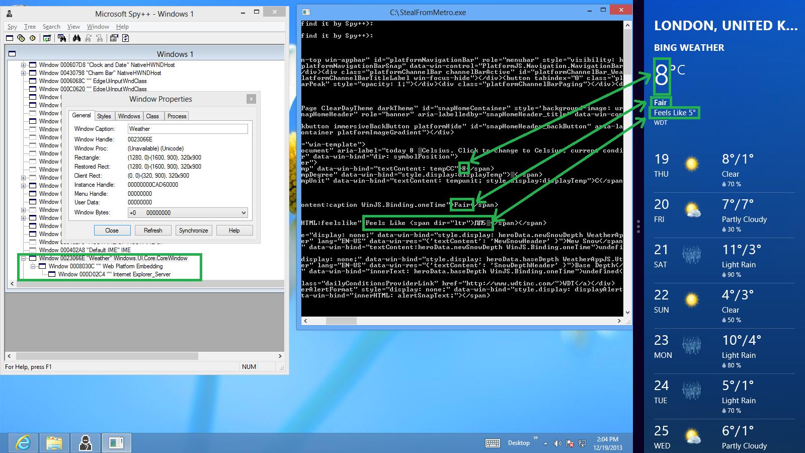Доступ к контенту Modern приложения на HTML\JS из Desktop приложения под Windows 8