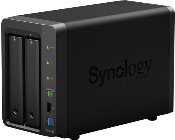 NAS Synology DS214+ с двумя отсеками для накопителей ориентирован на небольшие предприятия