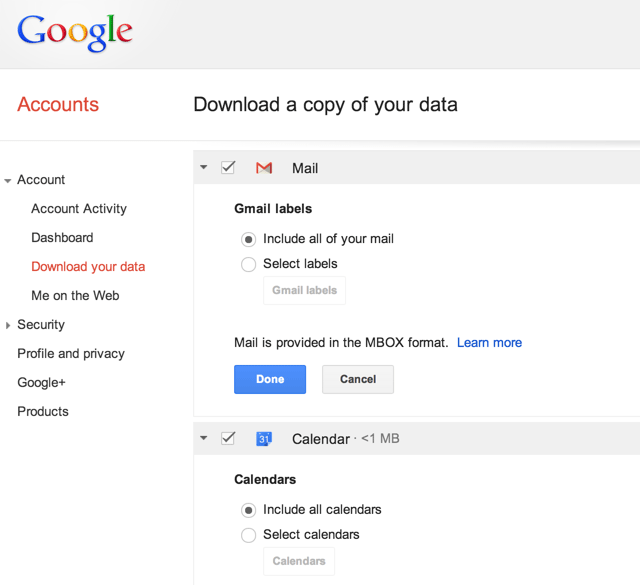 Экспорт архива Gmail и Google Calendar