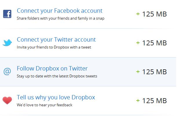 Ещё пара плюшек от Dropbox. Увеличиваем место