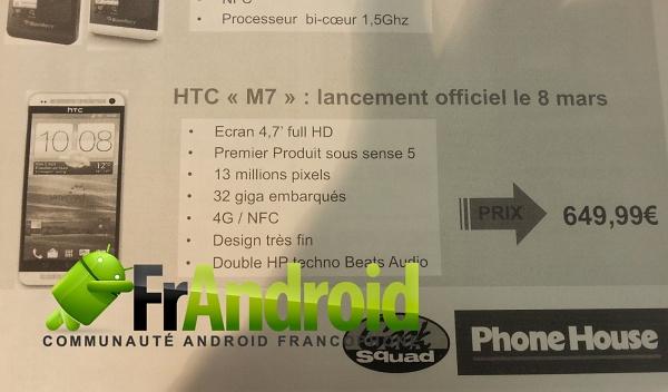 HTC M7 в брошюре Phone House