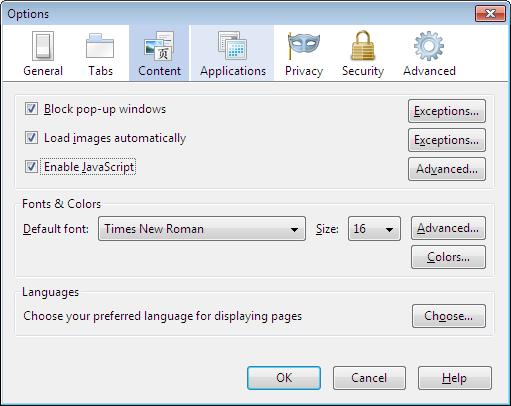 Флажок «Включить JavaScript» убрали из настроек Firefox 23