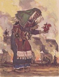 Злая старуха Лоухи, хозяйка Похъёлы, грозит своим корявым пальцем протагонисту