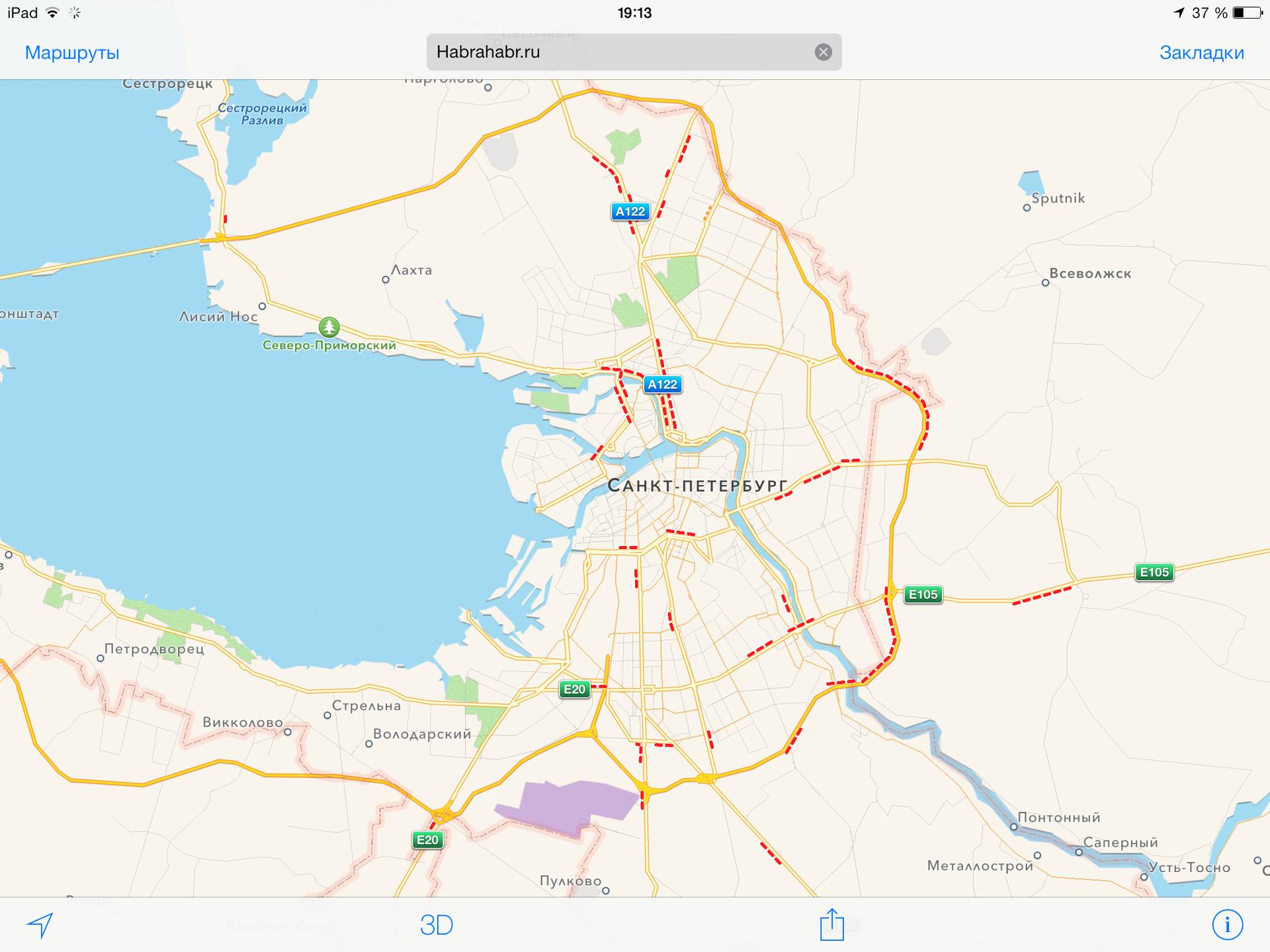 Карты Apple начали показывать пробки в России