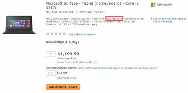 Планшет Surface Pro с SSD объёмом 256 ГБ