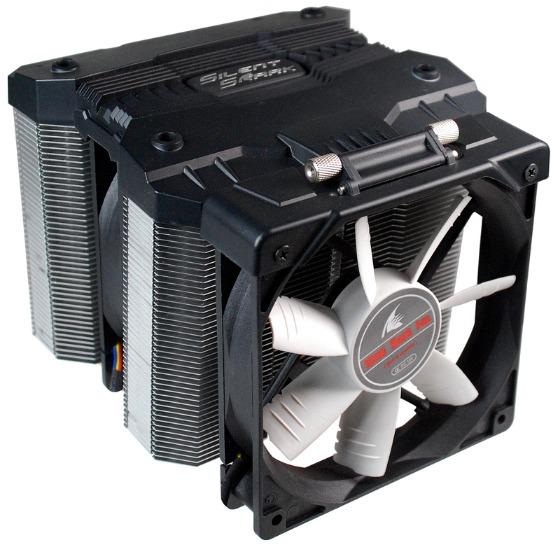 Конструкция процессорного охладителя Evercool Silent Shark предусматривает изменение угла наклона вентилятора
