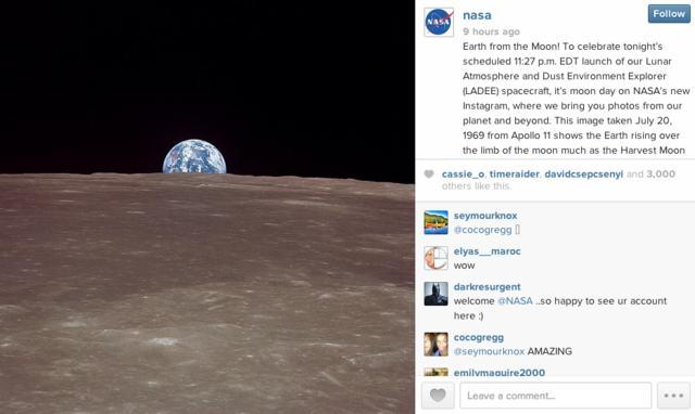 Лунный аппарат LADEE успешно запущен + аккаунт NASA появился в Instagram