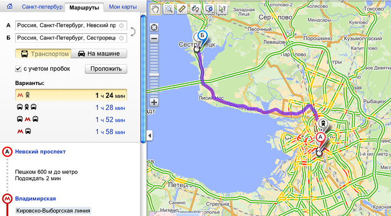 Маршруты в Яндекс.Картах довезут из города в пригород