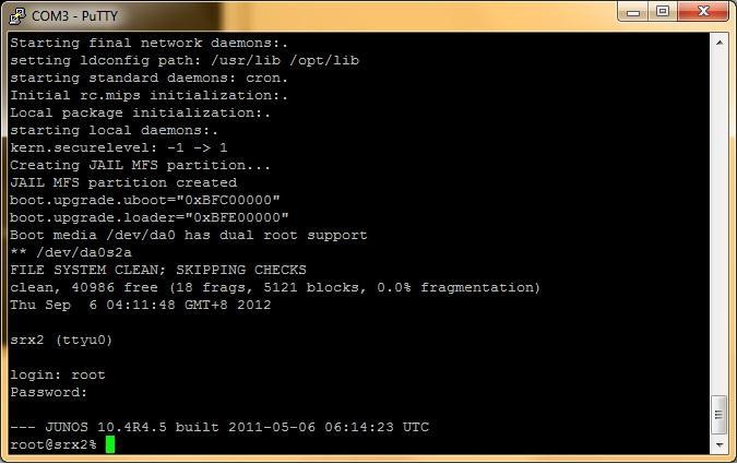 Начальная настройка маршрутизаторов Juniper SRX