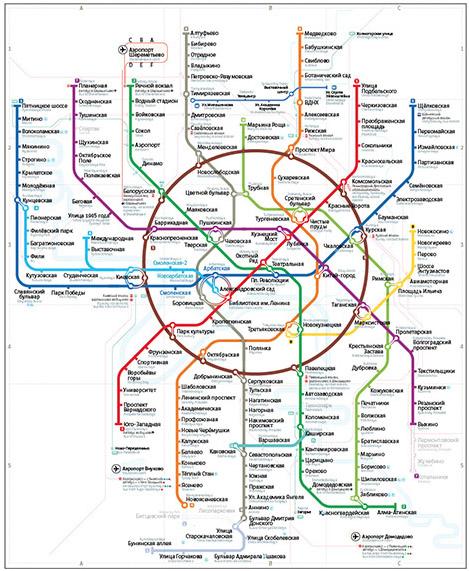 Навигация в новом варианте схемы московского метро для людей с нарушенным цветовосприятием