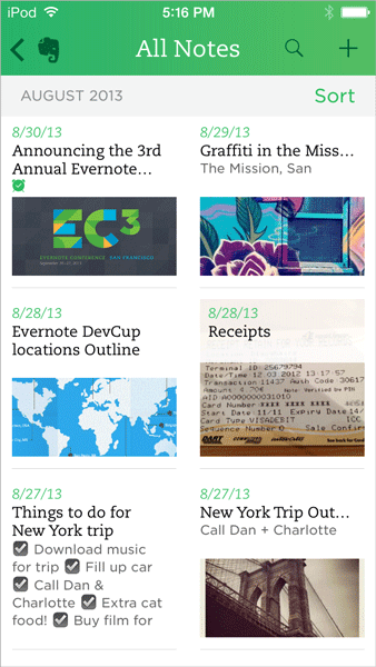 Новый Evernote для iOS 7