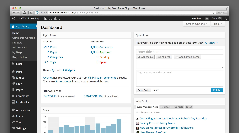 Новый дизайн админки WordPress.com