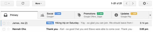 Новый интерфейс Gmail Inbox