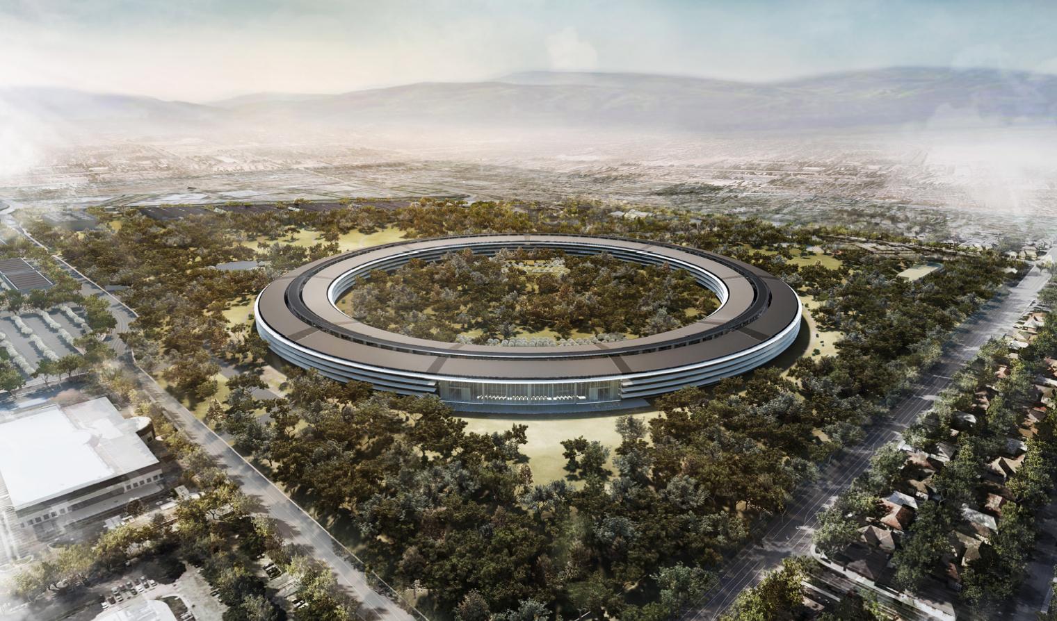 Новый офис «космический корабль» Apple в процессе строительства