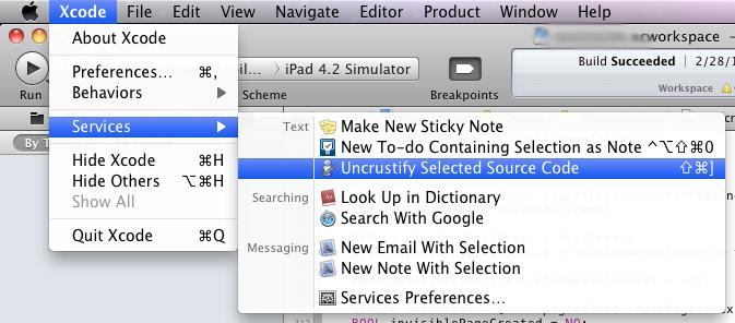 О форматировании кода и User Scripts в Xcode 4