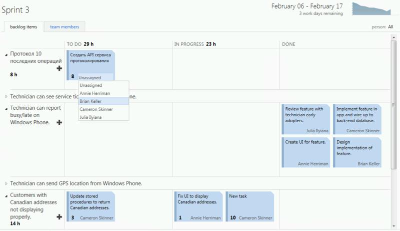 О гибком планировании и управлении работами в TFS 11 Beta