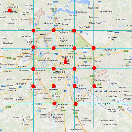 Один день из жизни Москвы в геометках Вконтакте
