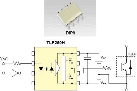 Оптопара Toshiba TLP250H рассчитана на работу в диапазоне температур от -40 °C до 125 °C