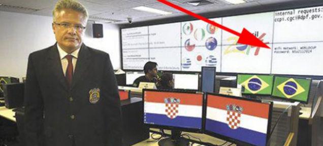 Пароль от Wifi сети центра обеспечения безопасности ЧМ 2014 транслировался на экран и попал на фото местной газеты