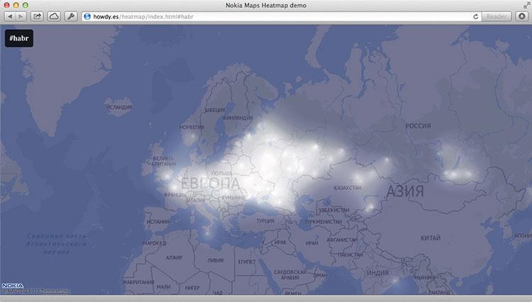 Пишем мэшап с помощью Nokia Maps JS API и Twitter Search API