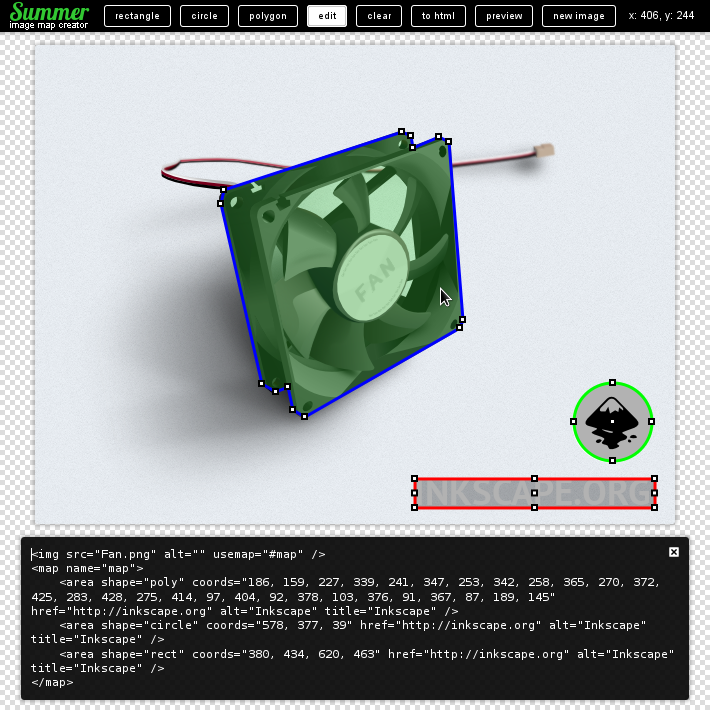 Summer html image map creator
