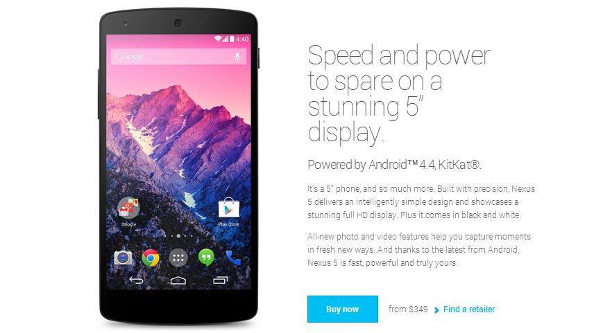 Покупаем Nexus 5 через Google Play